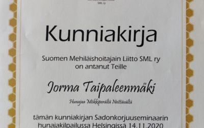 Hunajakilpailussa SML:lta voittosija