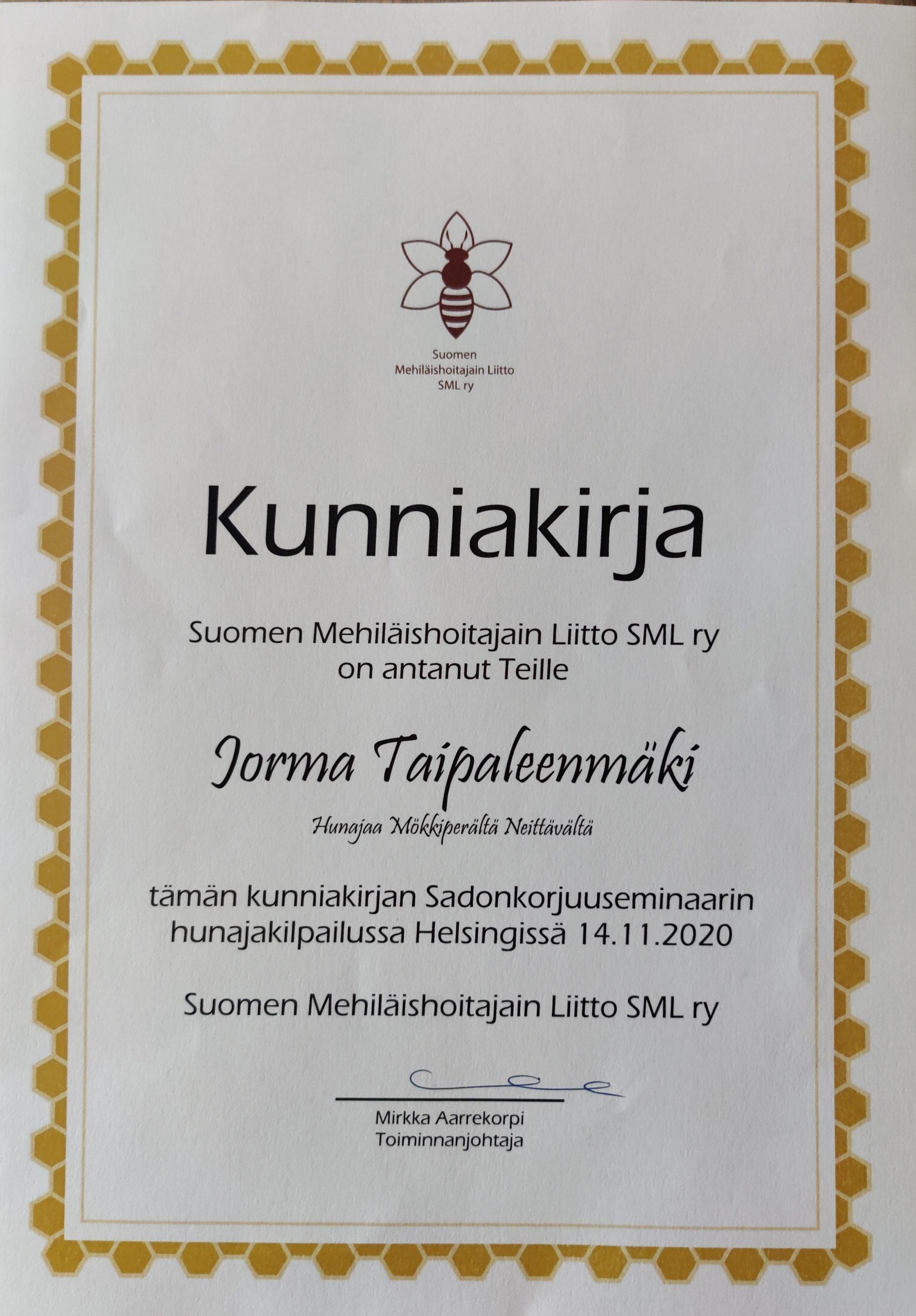 Kunniakirja Liiton Sadonkorjuuseminaarin paikallisyhdistyksien kilpailussa sija kaksi v.2020 Jorma Taipaleenmäki